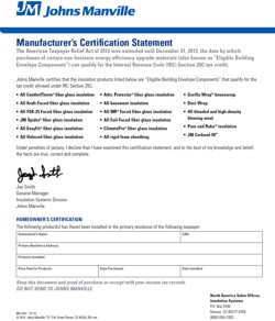 Certification Statement ~ Tax Credit ~ John Mansville Corbond III (JM) (closed-cell spray foam)